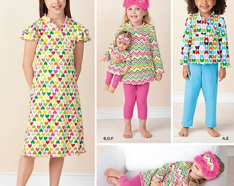 SALE / SEWING PATTERN / Make Matching Girls and American Girl Doll Pajamas and Nightgowns /