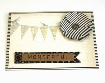 Wonderful handmade Card, Celebration Card, Thank You Card,  Vintage Card