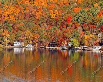Keuka Lake, NY Autumn Reflections Fall Foliage Original Fine Art Photography Print