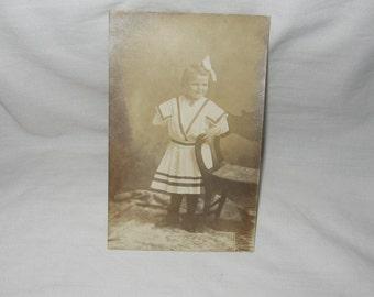 Old Postcard Little Girl in Sailor Style Dress