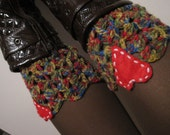 Heart boot cuff ,Knit boot socks,  Womens boot cuff,Love