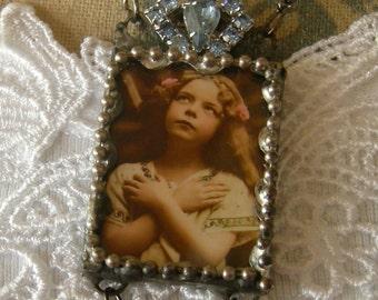 Soldered Glass Assemblage Necklace - Prayerful Child - SALE Item