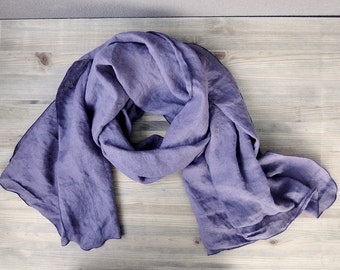 Very large linen shawl wrap scarf in dusty lavender