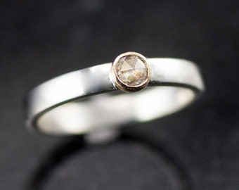 Moissanite Rose Cut Engagement Ring - Gold and Sterling Moissanite Ring
