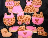 Leopard and Pink Baby Shower Cookies - 12 Cookies