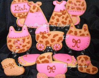 Leopard Baby Shower Cookies - 12 Cookies