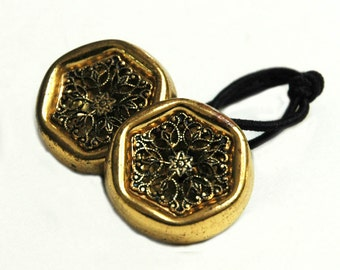 Ponytail Hair Wrap - Vintage Buttons Gold Filigree, Ponytail Holder Hair Accessory