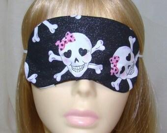 Girly Skulls and Crossbones Embroidered Sleep Mask