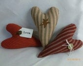 Primitive Heart Ornies, Set of Three, Item number 800-1001-FAAP