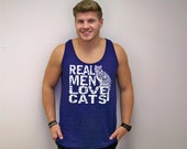 Fathers Day gift, mens tank top, Cat shirt, Real Men Love Cats, funny tshirts, American Apparel, blue, Unisex, tops and tees, tank top, cats