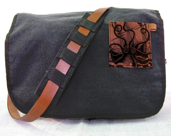 black canvas messenger bag with leather accents - octopus attacks bag