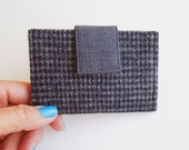 Wallet Credit  Card holder, business card case,slim wallet,card case wallet,card case holder,cash card wallet cover-Black Gray hearringbone