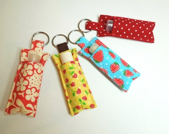 Grab Bag, set of 5 Lip balm key chains, Assortment of pattern and color, Chapstick Holder cozy keychain,lipstick case cozy, party favors