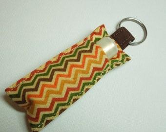 Lip Balm Key chain, Chapstick Holder, chap stick cozy keychain,ChapStick Keychain, Lipbalm pouch, lipstick case cozy-chevron neutral