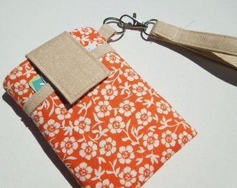 Wristlet strap cell phone bag, cell phone holder pouch, smart phone bag,travel cell phone puse case,digital camera sleeve bag-Orange florall