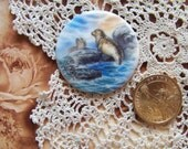 Cameo, Cabochon, Porcelain Tile Fired Decal Playful Seals 1 1/2 Round ECS