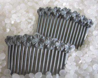 Vintage Pair Hair Combs  gray combs, grey combs