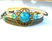 Turquoise Stone Bracelet Leather Wrap Bracelet Boho Bracelet Women Cuff Bracelet Friendship Bracelet Leather Bracelet  Bohemian Jewelry