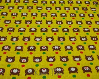 "SALE / Scrap - Bears Apples on Yellow - Half Yard  110cm/43""W x 49cm/19""L (i0225)"