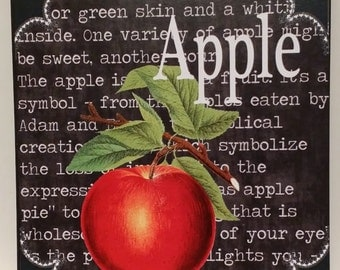 Kitchen Art Custom Definition Of Apple Fruit Wooden Wall Plaque