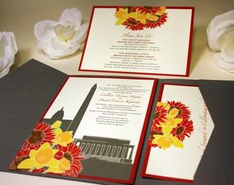 SAMPLE Washington DC Bouquet Pocketfold Wedding Invitation, Daffodils, Sunflowers, Tulips, Flowers, Red, Orange, Grey, Wine, Yellow
