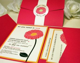 SAMPLE Gerbera Daisy Pocketfold Wedding Invitations, Flower, Pink, Black, Orange, Save the Date, RSVP, Outdoor, Bouquet, Modern, Garden