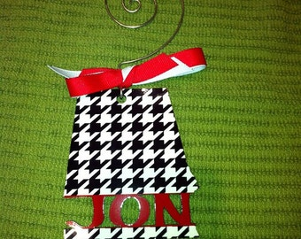 Holiday  Christmas  Ornament  personalized State of Alabama wooden, houndstooth,  Personalized  Custom    Laser Cut  Monogram