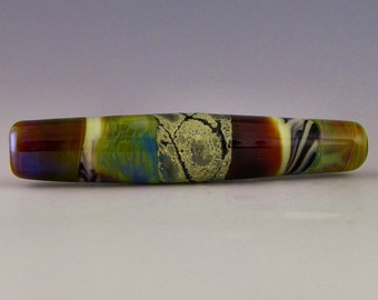 a long tube focal in color-shifting glass and fine silver foil handmade lampwork bead - Mirage
