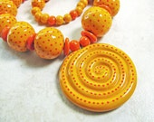 Orange Dot Necklace of Handmade Beads