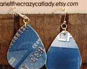 Recycled credit card earrings Chase blue