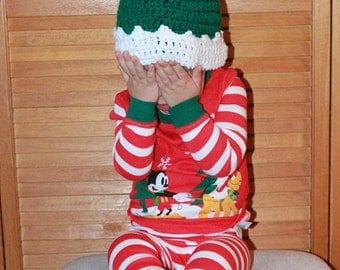 Christmas Crochet Elf Hat/Gnome Hat/Christmas Photo Prop/Newborn/Baby/Toddler/Kids Winter Hat/ Boys/ Girls/Santa's ELF Hat (Ready to Ship)