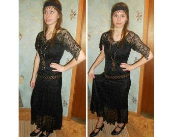 Edwardian 20s ensemble black lace dress slip headband necklace belt beaded OOAK stage