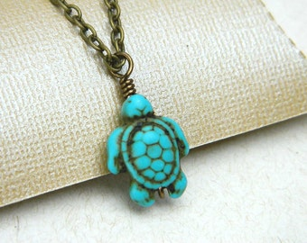 Turtle Necklace. To Order -Turquoise- Blue, Aqua, Ocean, Sea, Brown, Bronce, Brass, Dark, Fall, Animal, Jewelry Necklace, Turquoise Jewelry