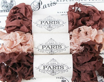 Shabby Crinkled Seam Binding Ribbon, Chocolate brown, Rose Pink,Rayon Ribbon, French Vintage,Scrapbooking,Sewing, Doll Making, French Cognac
