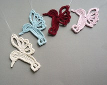 4 Crochet Hummingbird Ornaments -- Multicolored Hummingbirds -- Assortment H3