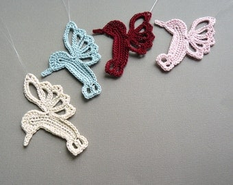4 Crochet Hummingbird Ornaments -- Multicolored Hummingbirds -- Assortment H3