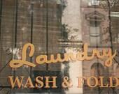 Laundry Room Art Laundry Wash and Fold, Laundry Room Decor, yellow, gold, new york city, nyc shop window