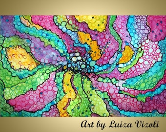 Abstract Floral Painting Circles 48x30 Painting Embellished Giclee Whimsical Flowers in the Rain by Luiza Vizoli Large Canvas