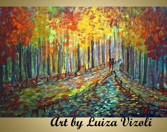 ABSTRACT Painting FALL Landscape Romance Impasto oil on canvas Embellished Giclee  36x24 free shipping
