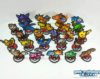Small Pokemon Perler Bead Sprite Figures with Pokeball Stands - You Choose Your Pokemon