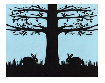 Sleeping Bunnies paper cut silhouette blue black 8X10 unframed