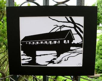 Covered Bridge Silhouette Wall Art Wall Decor Paper Cut Art black white 10X8 or matted 14X11 unframed