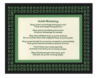 Irish Blessing Wedding Anniversary Blessing with Celtic Knot Paper Cut Mat Border - 8X10 Unframed