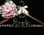 Personalized Bride Hanger with Floating  Date and  JUMBO Letters  Wedding Dress custom wire hanger with pearls