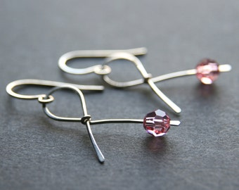 Breast Cancer Pink Ribbon Earrings in Sterling Silver . Hope . Handmade Awareness Ribbon survivor jewelry