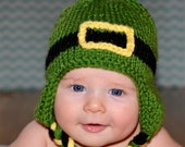 St. Patrick's Day Baby Hat- Crochet Shamrock Baby St. Patty's Day Hat- Ear Flaps- Boys- Girls- Photo Prop