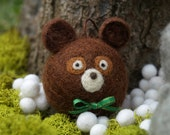 Felt Bear Ornament, Christmas Decoration, Needle Felted Wool, Woodland Animal, Cute Rustic Brown, Green Snow, Winter, Heirloom Xmas