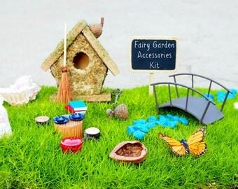 Fairy Garden Kit - Fairy Garden Accessories - Fairy Garden Supply - Fairy Garden Decor - DIY Fairy House - moss, tree, furniture, items