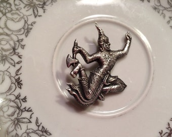 Vintage Siam silver Asian dancer brooch pin lapel dress jewelry