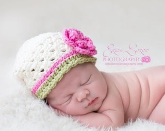 Infant Crochet Hat, Baby Hat, Crochet Baby Hat, Baby Girls Hat, Cream, Pink and Sage Green, MADE TO ORDER